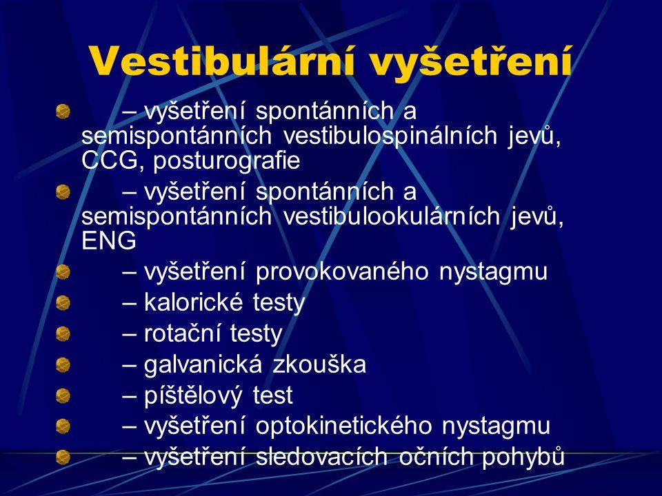 Pomocná vyšetření – RTG, CT, NMR – laboratorní vyšetření – interní, neurologické, oční ev.
