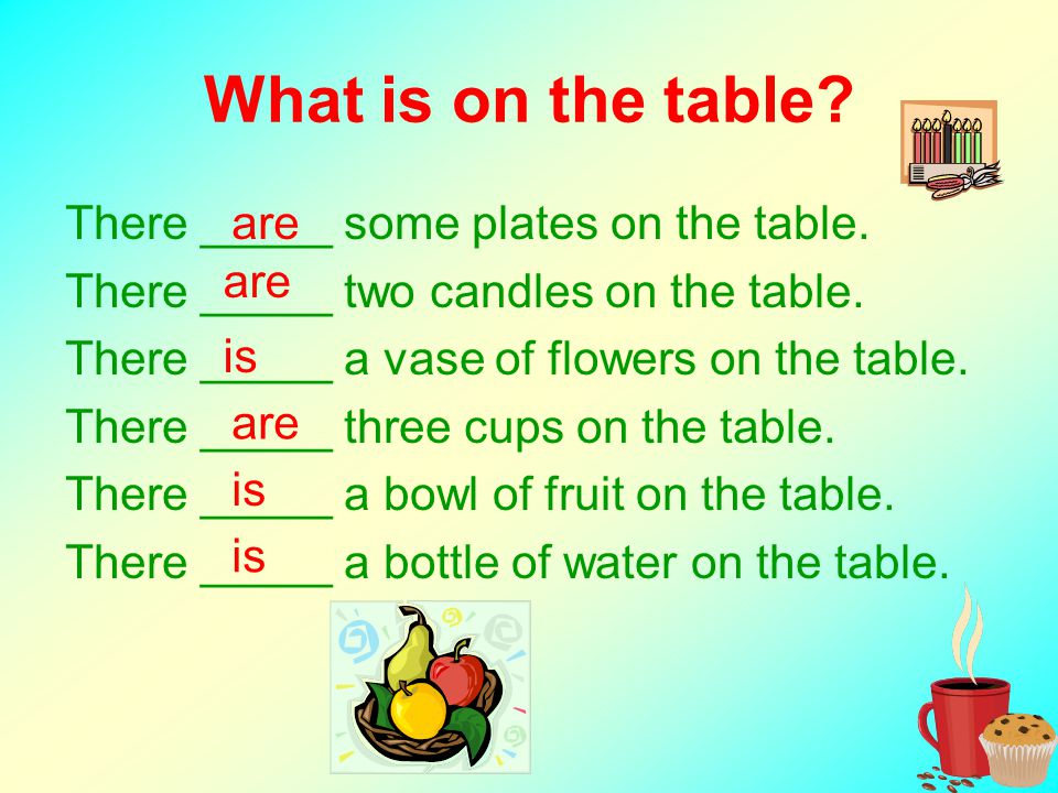 What is on the table? There _____ some plates on the table. There _____ two candles on the table. There _____ a vase of flowers on the table. There __
