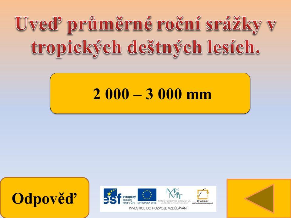 Odpověď 2 000 – 3 000 mm