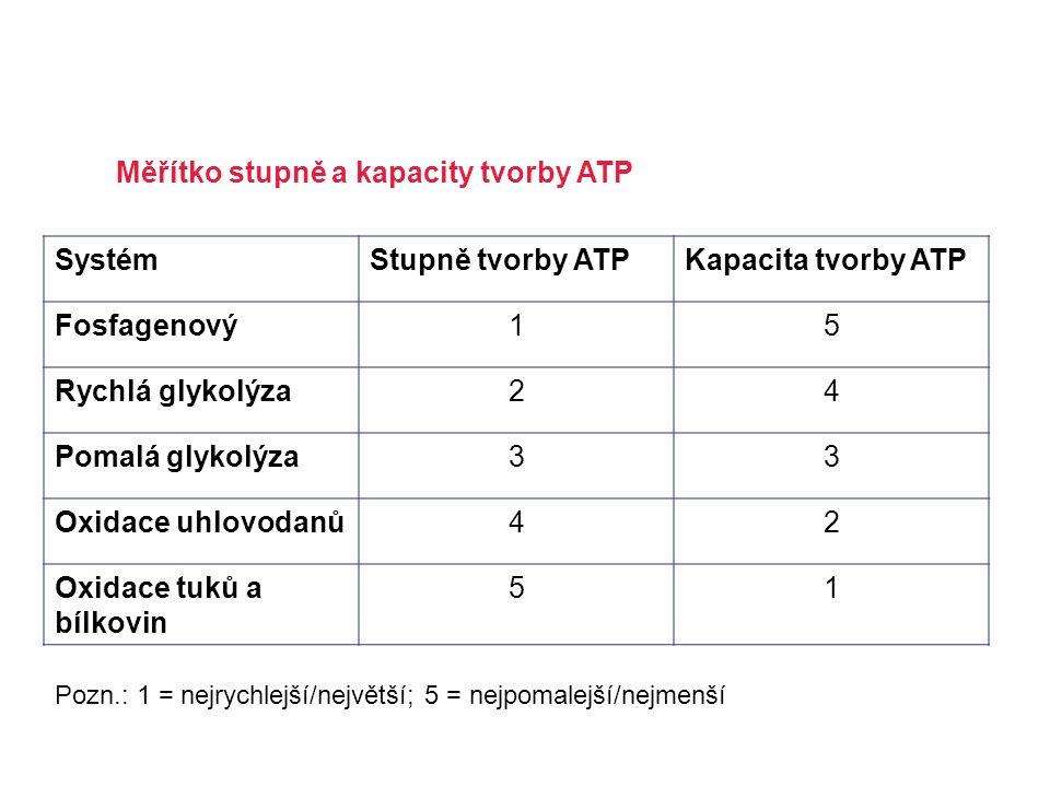 SystémStupně tvorby ATPKapacita tvorby ATP Fosfagenový15 Rychlá glykolýza24 Pomalá glykolýza33 Oxidace uhlovodanů42 Oxidace tuků a bílkovin 51 Měřítko