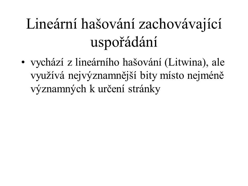 Lineární hašování zachovávající uspořádání vychází z lineárního hašování (Litwina), ale využívá nejvýznamnější bity místo nejméně významných k určení stránky