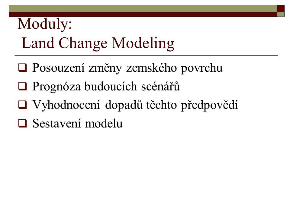 Moduly: Land Change Modeling  Posouzení změny zemského povrchu  Prognóza budoucích scénářů  Vyhodnocení dopadů těchto předpovědí  Sestavení modelu
