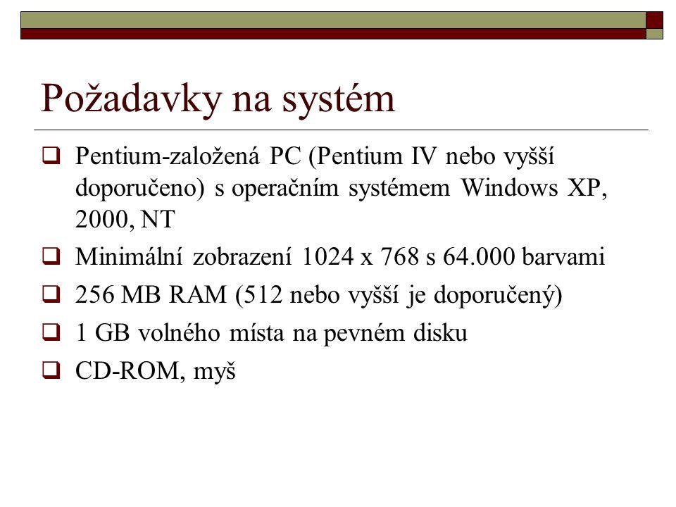 Požadavky na systém  Pentium-založená PC (Pentium IV nebo vyšší doporučeno) s operačním systémem Windows XP, 2000, NT  Minimální zobrazení 1024 x 76