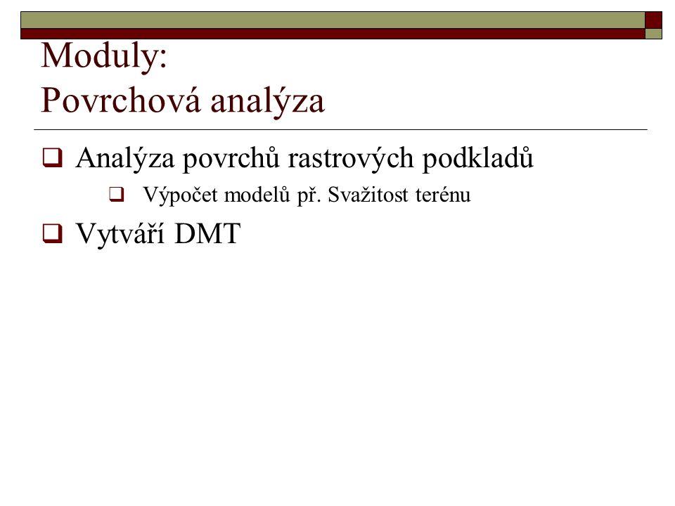 Moduly: Povrchová analýza  Analýza povrchů rastrových podkladů  Výpočet modelů př. Svažitost terénu  Vytváří DMT