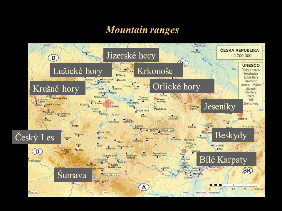 Mountain ranges Krkonoše Český Les Šumava Orlické hory Krušné hory Jizerské hory Jeseníky Beskydy Bílé Karpaty Lužické hory