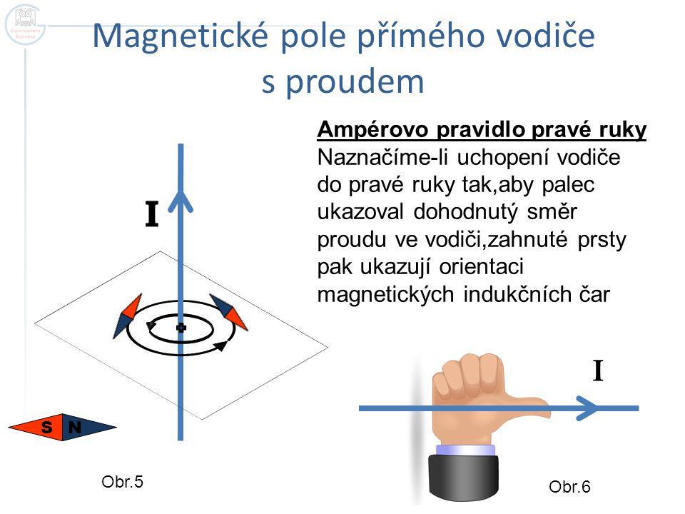 Magnetické pole cívky s proudem N S I Ampérovo pravidlo pravé ruky Pravou ruku položíme na cívku tak,aby pokrčené prsty ukazovaly dohodnutý směr proudu v závitech cívky.Palec ukazuje orientaci indukčních čar v dutině cívky.Neboli palec ukazuje k severnímu pólu cívky S N Obr.