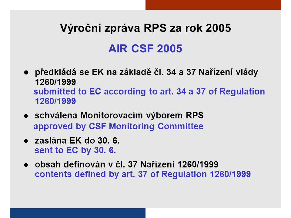 Výroční zpráva RPS za rok 2005 AIR CSF 2005 ● předkládá se EK na základě čl.