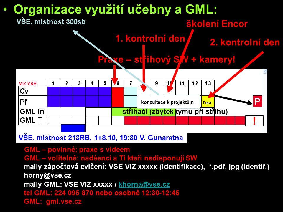 Organizace využití učebny a GML: učebna: –všichni studenti - WF bitmap, tipy a triky s bitmapama GML: –povinně všichni studenti: »základy práce se stř