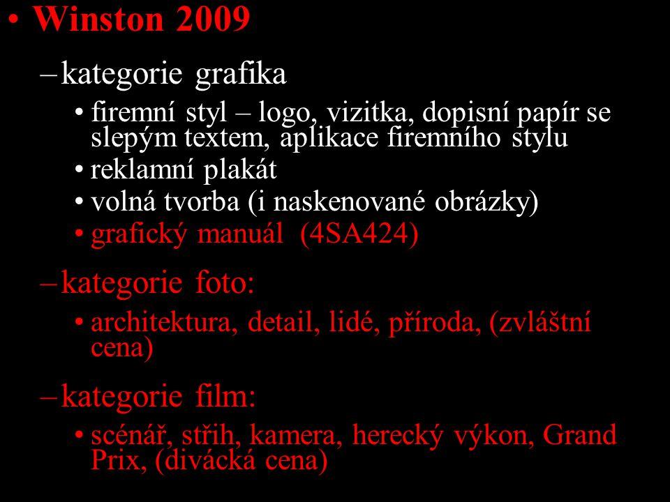 Winston 2009 –kategorie grafika firemní styl – logo, vizitka, dopisní papír se slepým textem, aplikace firemního stylu reklamní plakát volná tvorba (i naskenované obrázky) grafický manuál (4SA424) –kategorie foto: architektura, detail, lidé, příroda, (zvláštní cena) –kategorie film: scénář, střih, kamera, herecký výkon, Grand Prix, (divácká cena)