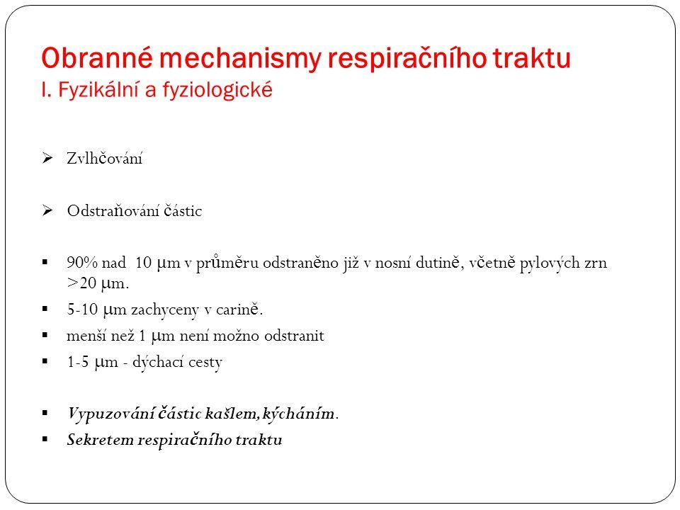 Obranné mechanismy respiračního traktu I. Fyzikální a fyziologické  Zvlh č ování  Odstra ň ování č ástic  90% nad 10 μ m v pr ů m ě ru odstran ě no
