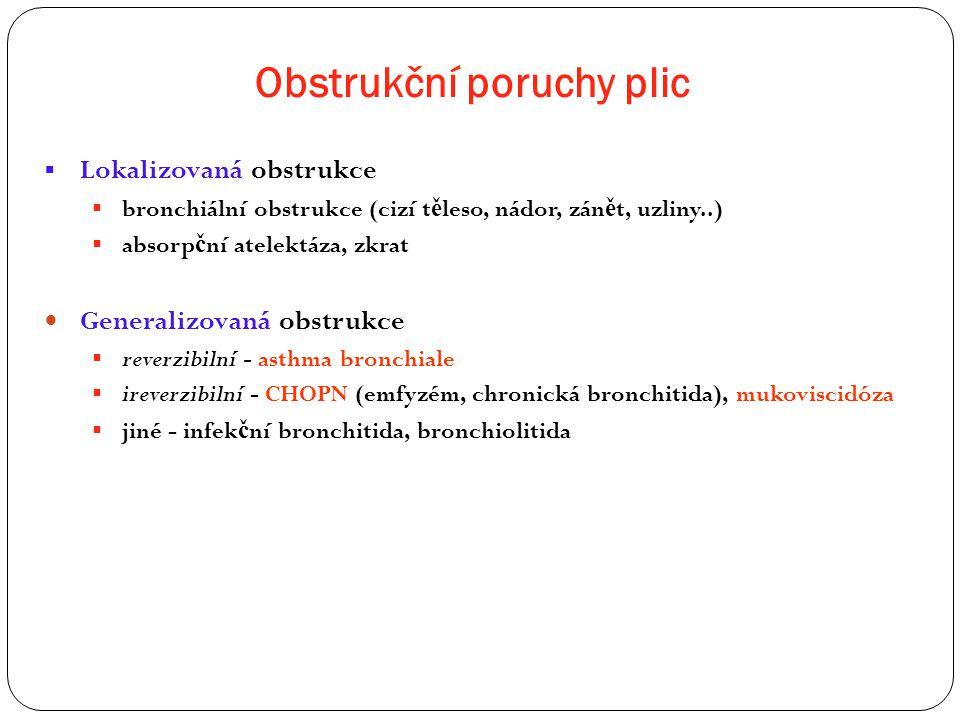Obstrukční poruchy plic  Lokalizovaná obstrukce  bronchiální obstrukce (cizí t ě leso, nádor, zán ě t, uzliny..)  absorp č ní atelektáza, zkrat Gen
