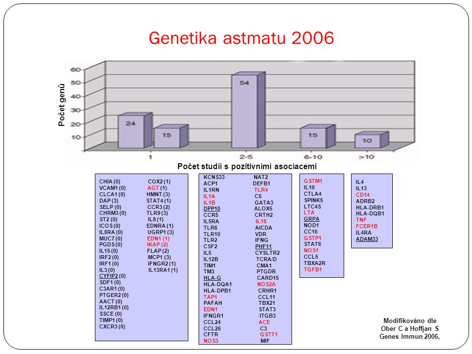 Genetika astmatu 2006 Počet genů Počet studií s pozitivními asociacemi CHIA (0) COX2 (1) VCAM1 (0) AGT (1) CLCA1 (0) HMNT (3) DAP (3) STAT4 (1) SELP (