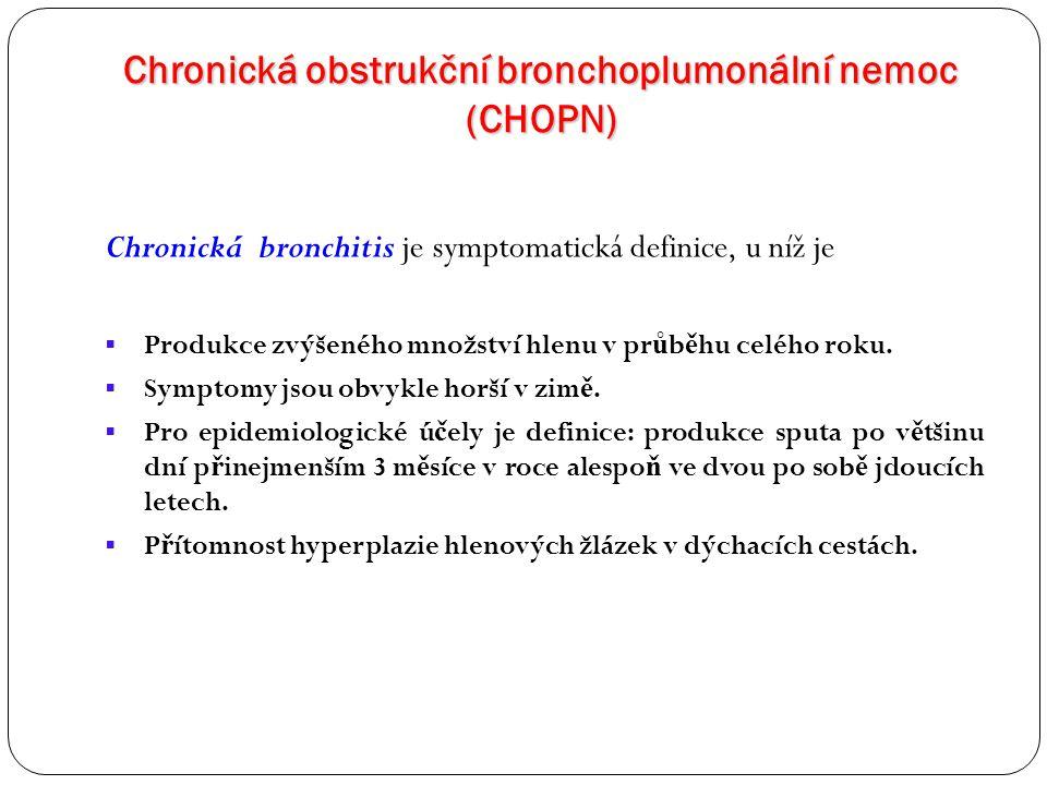 Chronická obstrukční bronchoplumonální nemoc (CHOPN) Chronická bronchitis je symptomatická definice, u níž je  Produkce zvýšeného množství hlenu v pr