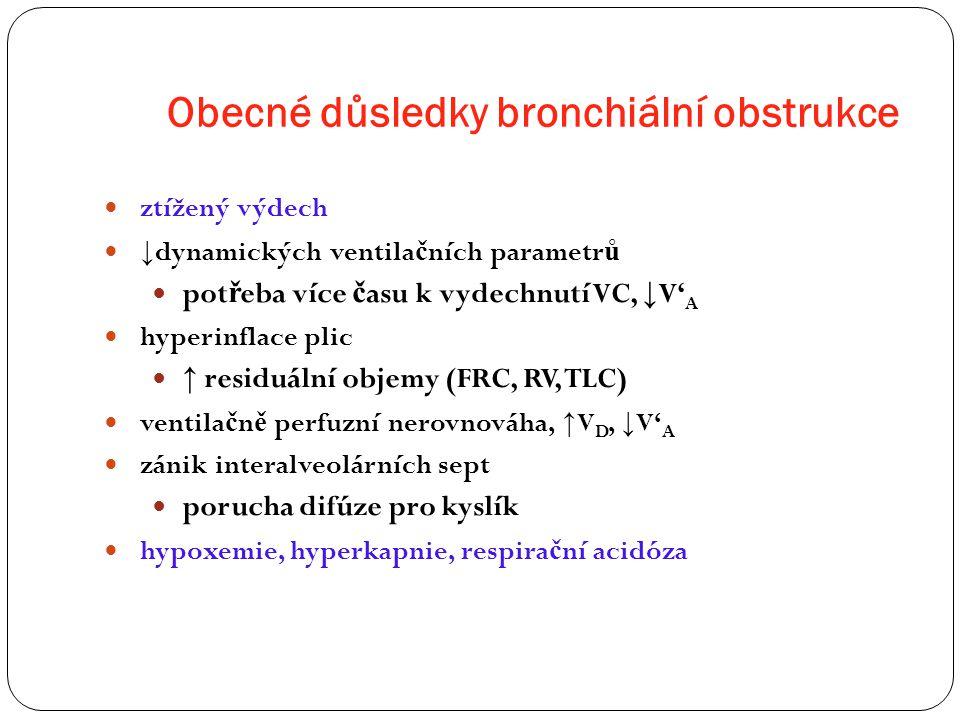 Obecné důsledky bronchiální obstrukce ztížený výdech ↓ dynamických ventila č ních parametr ů pot ř eba více č asu k vydechnutí VC, ↓ V' A hyperinflace