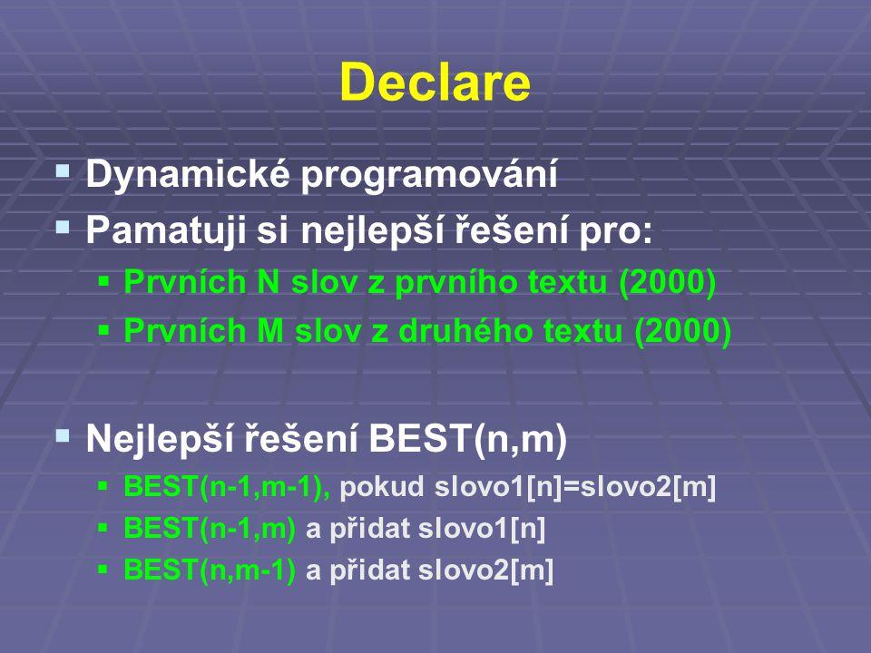 Declare  Dynamické programování  Pamatuji si nejlepší řešení pro:  Prvních N slov z prvního textu (2000)  Prvních M slov z druhého textu (2000)  Nejlepší řešení BEST(n,m)  BEST(n-1,m-1), pokud slovo1[n]=slovo2[m]  BEST(n-1,m) a přidat slovo1[n]  BEST(n,m-1) a přidat slovo2[m]
