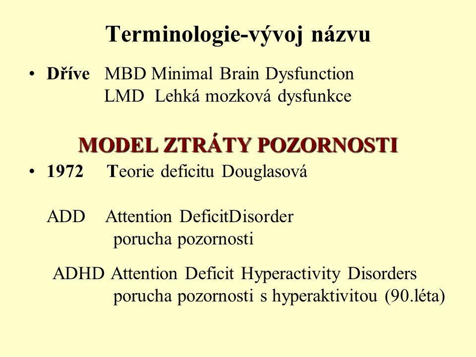 Terminologie-vývoj názvu Dříve MBD Minimal Brain Dysfunction LMD Lehká mozková dysfunkce MODEL ZTRÁTY POZORNOSTI 1972 Teorie deficitu Douglasová ADD Attention DeficitDisorder porucha pozornosti ADHD Attention Deficit Hyperactivity Disorders porucha pozornosti s hyperaktivitou (90.léta)