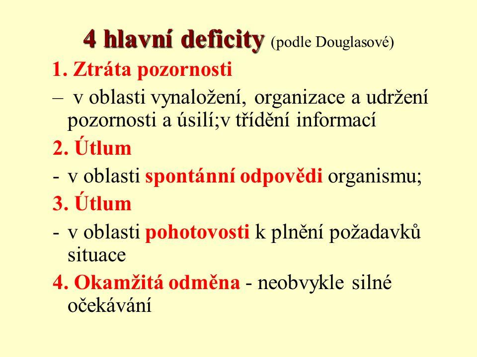4 hlavní deficity 4 hlavní deficity (podle Douglasové) 1. Ztráta pozornosti – v oblasti vynaložení, organizace a udržení pozornosti a úsilí;v třídění