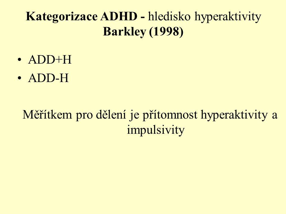 Kategorizace ADHD - hledisko hyperaktivity Barkley (1998) ADD+H ADD-H Měřítkem pro dělení je přítomnost hyperaktivity a impulsivity