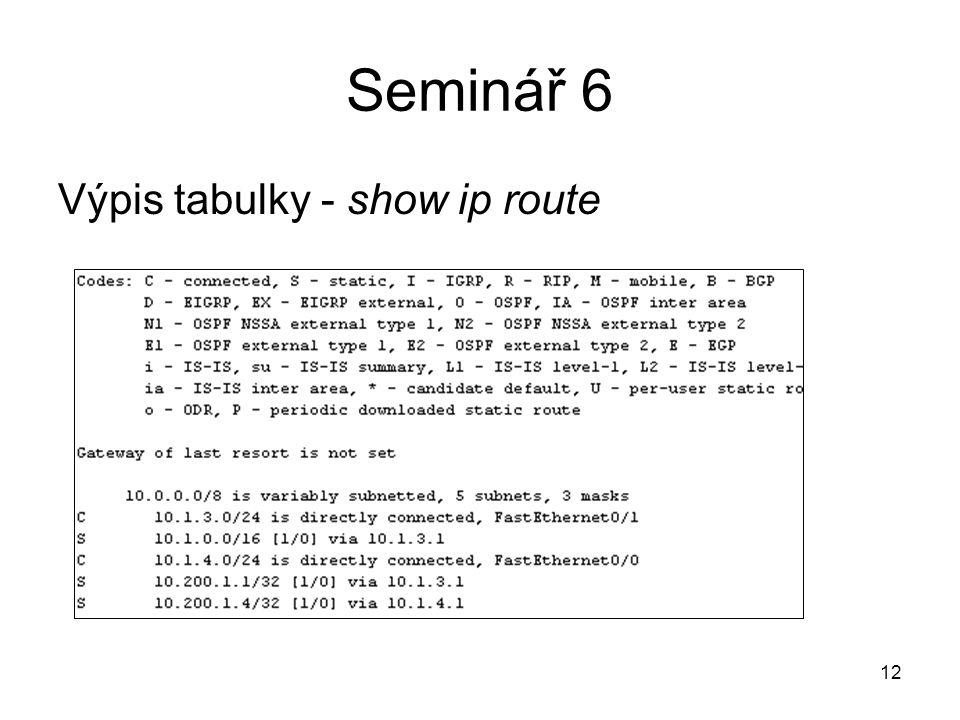 Výpis tabulky - show ip route 12 Seminář 6