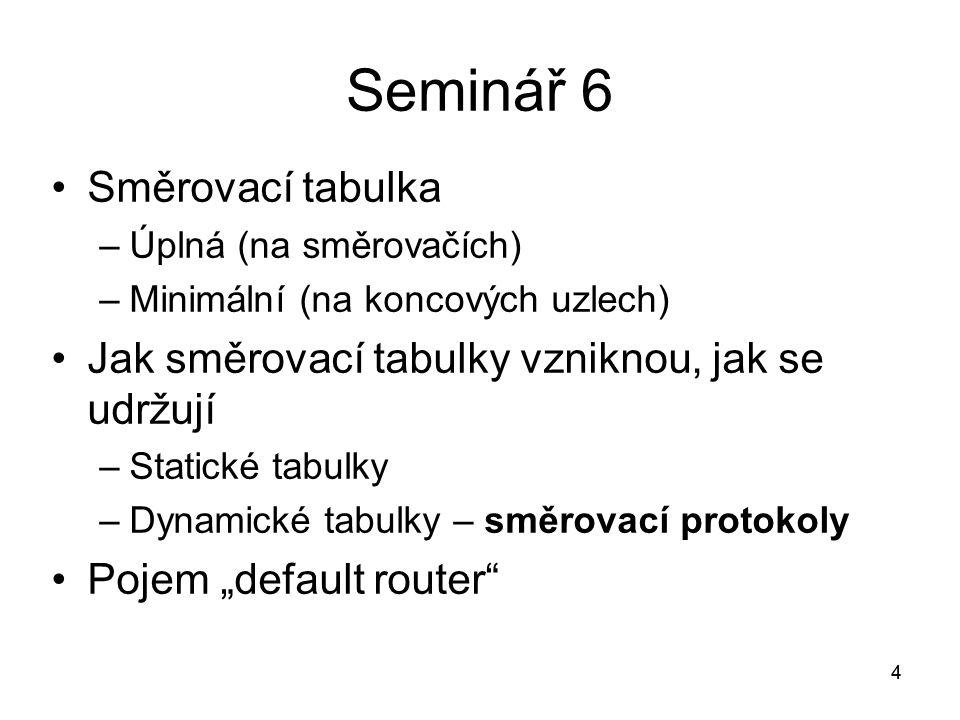 """4 Seminář 6 Směrovací tabulka –Úplná (na směrovačích) –Minimální (na koncových uzlech) Jak směrovací tabulky vzniknou, jak se udržují –Statické tabulky –Dynamické tabulky – směrovací protokoly Pojem """"default router 4"""