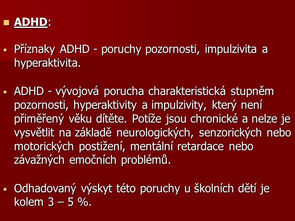 ADHD: ADHD: Příznaky ADHD - poruchy pozornosti, impulzivita a hyperaktivita. Příznaky ADHD - poruchy pozornosti, impulzivita a hyperaktivita. ADHD - v