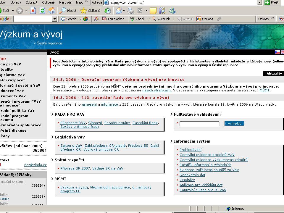 ZČU, 20.6.2006, Jiří Vacek AKADEMIK 06 - Informační zdroje 26 Výzkum a vývoj: Výzkum a vývoj: Úsek prorektora pro výzkum a vývojÚsek prorektora pro výzkum a vývoj http://www.veda.zcu.cz/osv/osv_cz.htmhttp://www.veda.zcu.cz/osv/osv_cz.htmhttp://www.veda.zcu.cz/osv/osv_cz.htm Zahraniční vztahy Zahraniční vztahy http://international.zcu.cz/http://international.zcu.cz/http://international.zcu.cz/ strukturální fondy EU – operační programystrukturální fondy EU – operační programy SOCRATES-ERASMUS, LEONARDO da VINCISOCRATES-ERASMUS, LEONARDO da VINCI