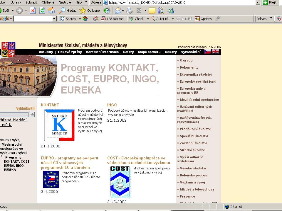ZČU, 20.6.2006, Jiří Vacek AKADEMIK 06 - Informační zdroje 69 27,3 mil € geografické informace30% vzdělávání25% digitální knihovny (vědecký a kulturní obsah)40% posilováni spolupráce mezi zainteresovanými skupinami (stakeholders) – napříč tématickými oblastmi5%