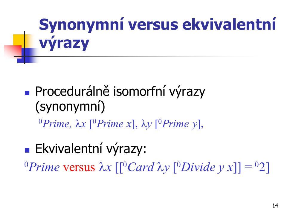 14 Synonymní versus ekvivalentní výrazy Procedurálně isomorfní výrazy (synonymní) 0 Prime, x [ 0 Prime x], y [ 0 Prime y], Ekvivalentní výrazy: 0 Prim