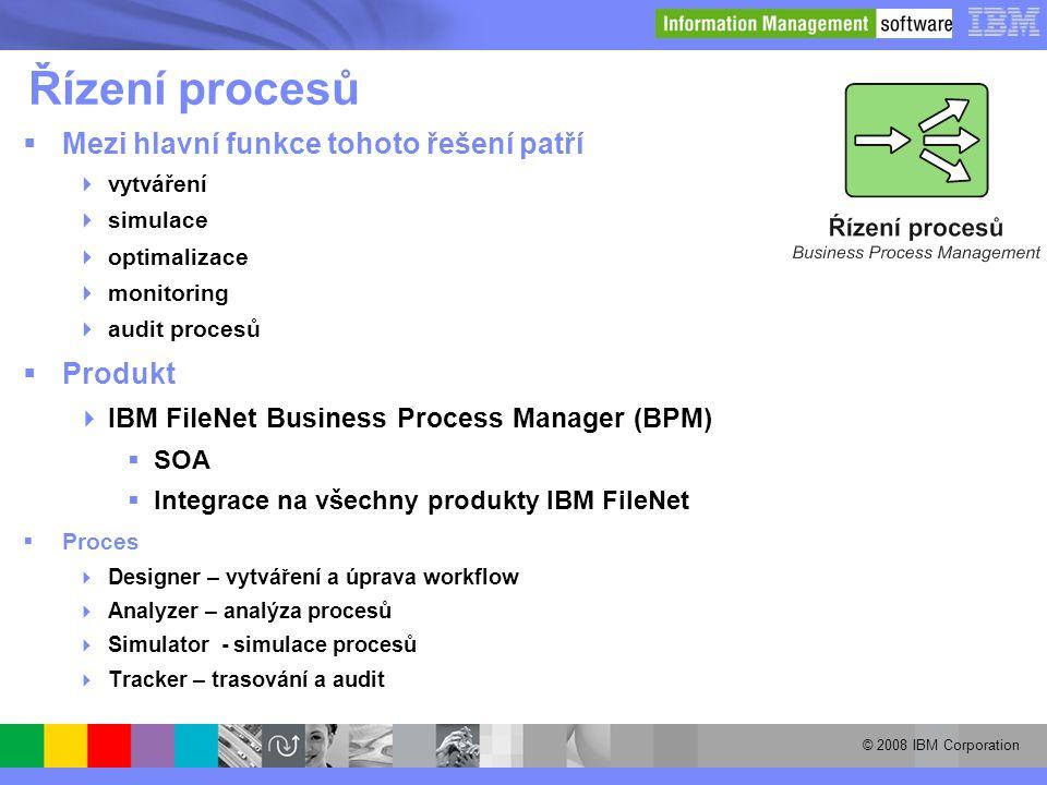 © 2008 IBM Corporation Řízení procesů  Mezi hlavní funkce tohoto řešení patří  vytváření  simulace  optimalizace  monitoring  audit procesů  Pr