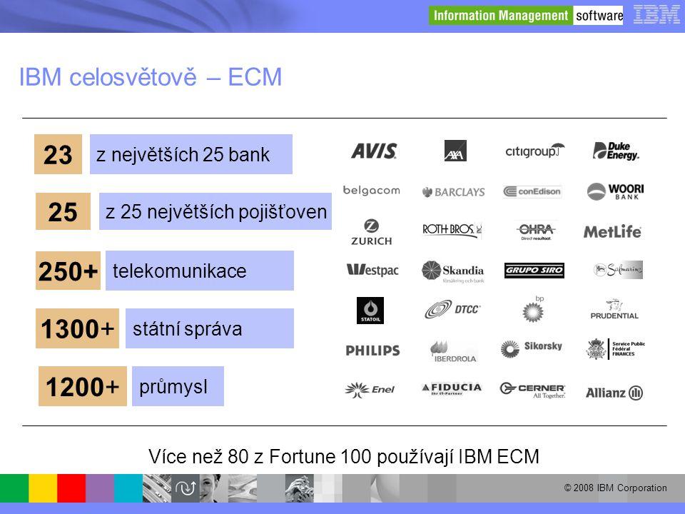 © 2008 IBM Corporation IBM celosvětově – ECM Více než 80 z Fortune 100 používají IBM ECM 23 z největších 25 bank 250+ telekomunikace 25 z 25 největšíc