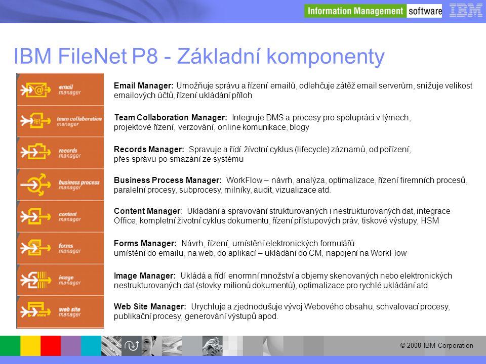 © 2008 IBM Corporation IBM FileNet P8 - Základní komponenty Email Manager: Umožňuje správu a řízení emailů, odlehčuje zátěž email serverům, snižuje ve