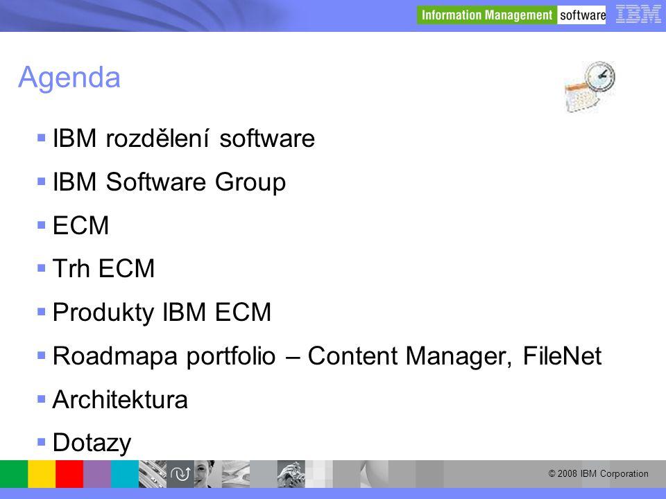 © 2008 IBM Corporation Agenda  IBM rozdělení software  IBM Software Group  ECM  Trh ECM  Produkty IBM ECM  Roadmapa portfolio – Content Manager,