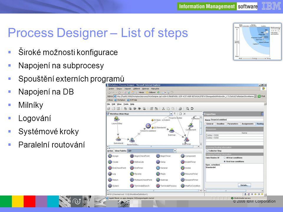 © 2008 IBM Corporation Process Designer – List of steps  Široké možnosti konfigurace  Napojení na subprocesy  Spouštění externích programů  Napoje