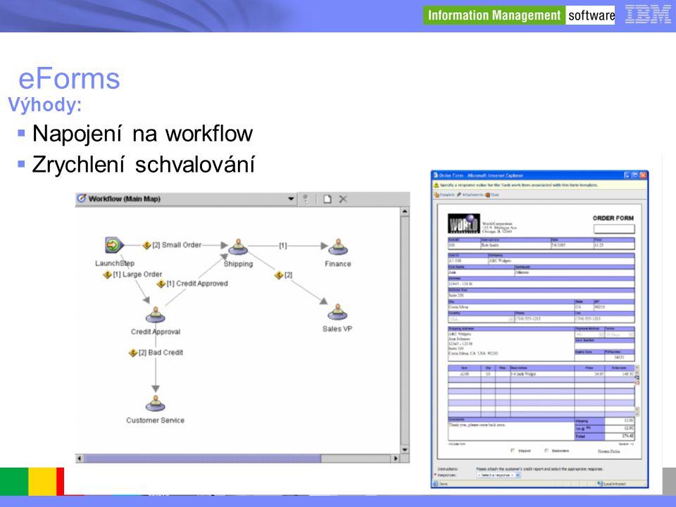 © 2008 IBM Corporation eForms Výhody:  Napojení na workflow  Zrychlení schvalování