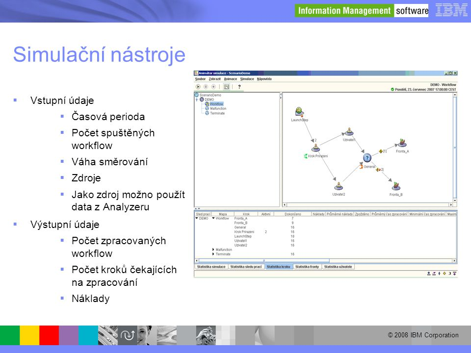 © 2008 IBM Corporation Simulační nástroje  Vstupní údaje  Časová perioda  Počet spuštěných workflow  Váha směrování  Zdroje  Jako zdroj možno po