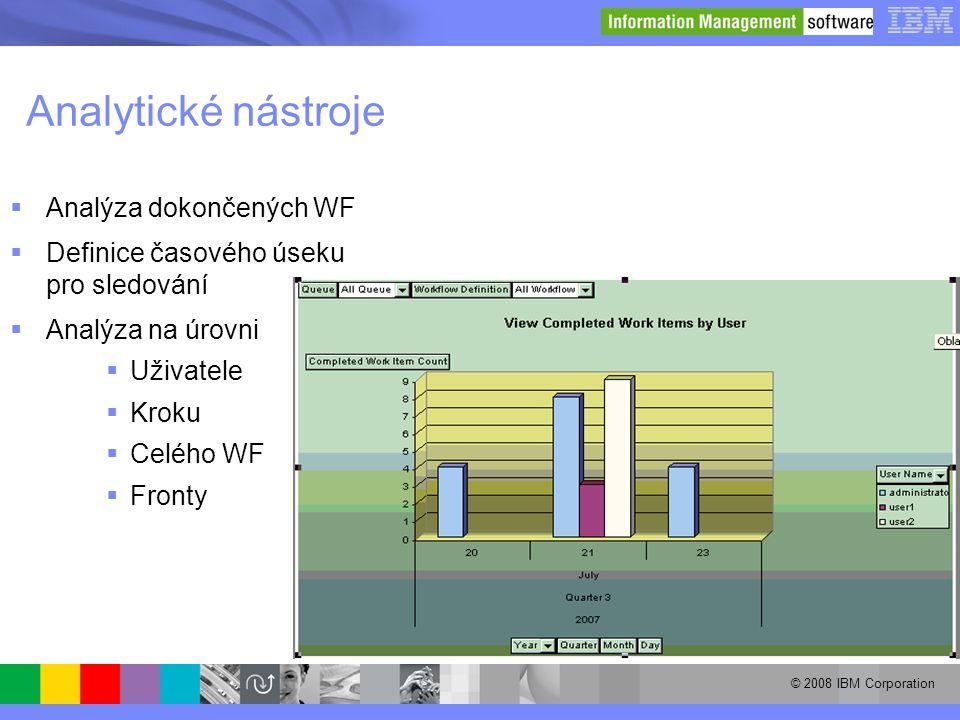 © 2008 IBM Corporation Analytické nástroje  Analýza dokončených WF  Definice časového úseku pro sledování  Analýza na úrovni  Uživatele  Kroku 