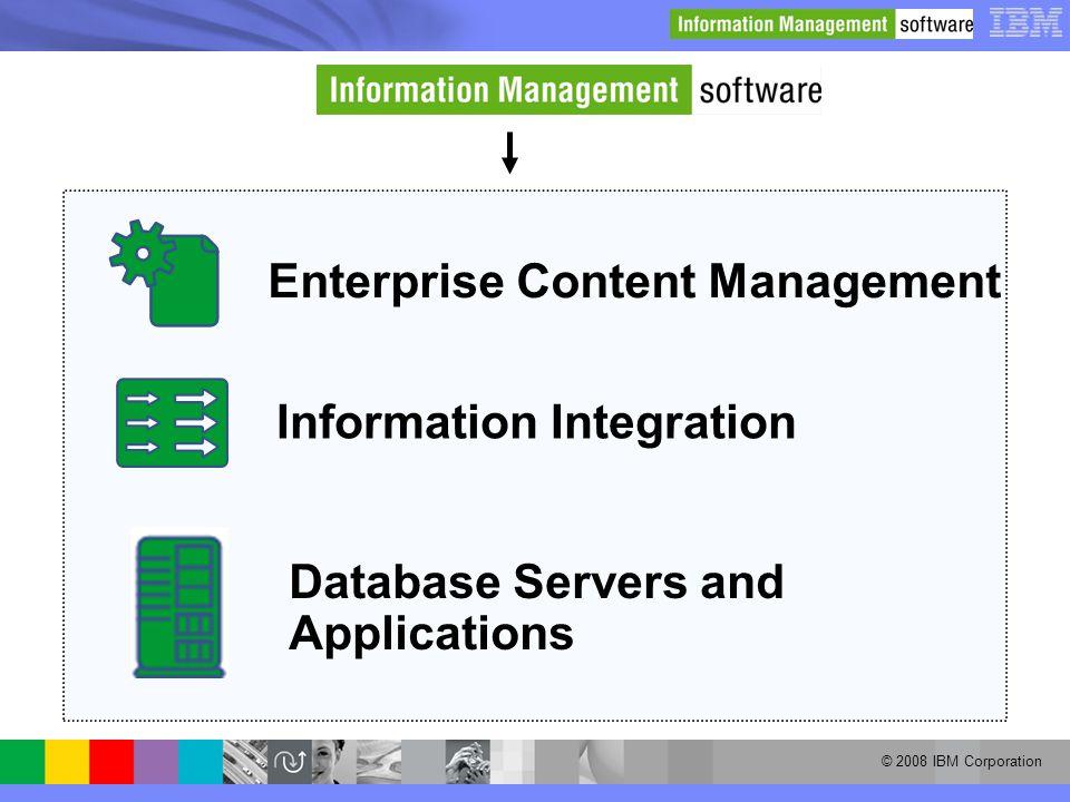 © 2008 IBM Corporation Enterprise Content Management Information Integration Database Servers and Applications