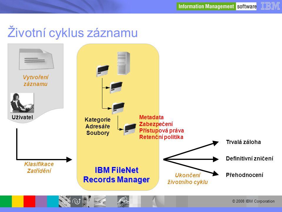 © 2008 IBM Corporation Životní cyklus záznamu Uživatel Vytvoření záznamu Trvalá záloha Definitivní zničení Přehodnocení Ukončení životního cyklu IBM F