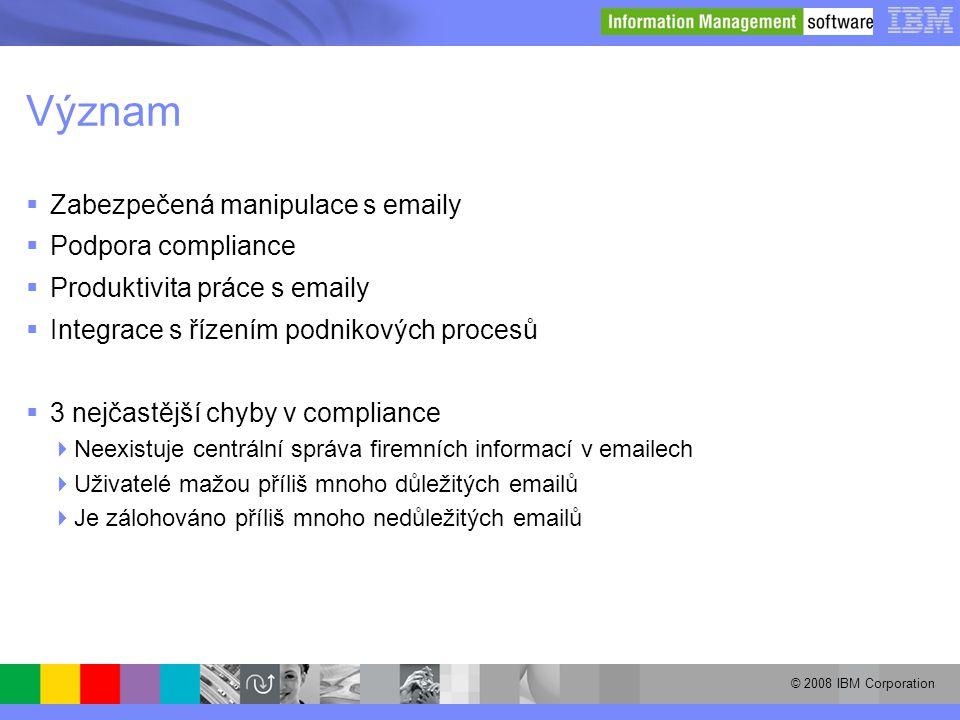© 2008 IBM Corporation Význam  Zabezpečená manipulace s emaily  Podpora compliance  Produktivita práce s emaily  Integrace s řízením podnikových p