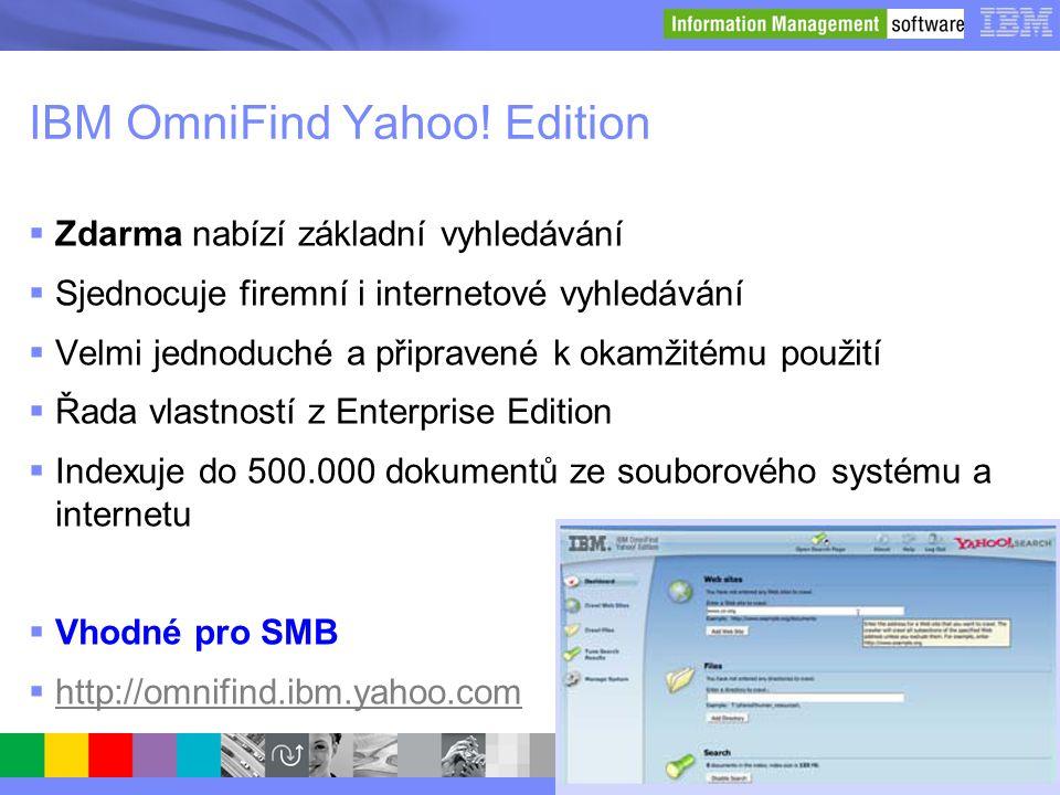 © 2008 IBM Corporation IBM OmniFind Yahoo! Edition  Zdarma nabízí základní vyhledávání  Sjednocuje firemní i internetové vyhledávání  Velmi jednodu