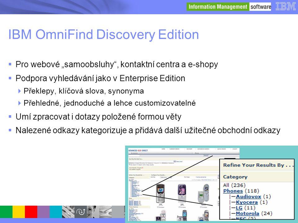 """© 2008 IBM Corporation IBM OmniFind Discovery Edition  Pro webové """"samoobsluhy"""", kontaktní centra a e-shopy  Podpora vyhledávání jako v Enterprise E"""