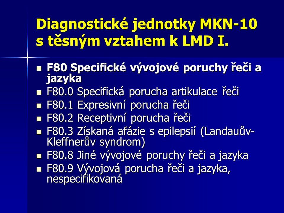 Diagnostické jednotky MKN-10 s těsným vztahem k LMD I. F80 Specifické vývojové poruchy řeči a jazyka F80 Specifické vývojové poruchy řeči a jazyka F80