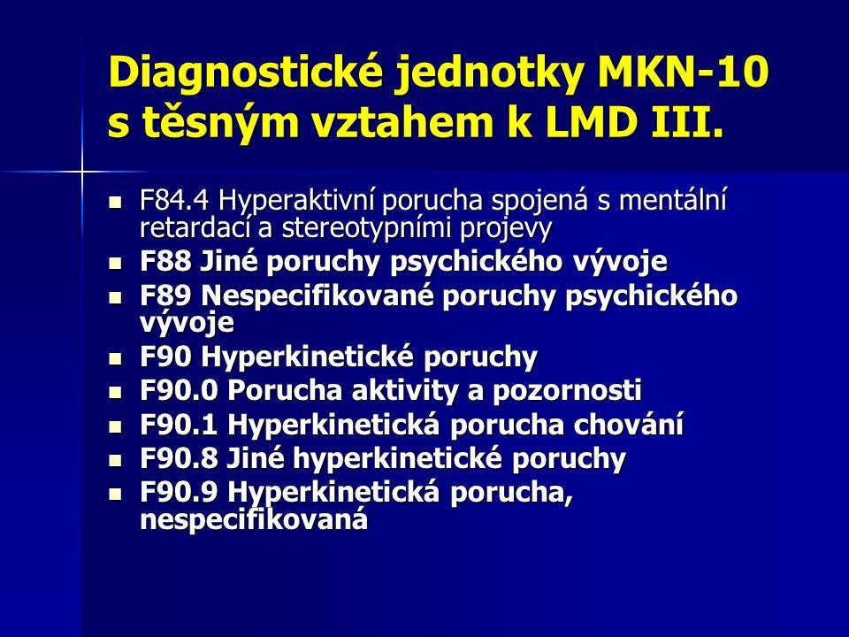 Diagnostické jednotky MKN-10 s těsným vztahem k LMD III. F84.4 Hyperaktivní porucha spojená s mentální retardací a stereotypními projevy F84.4 Hyperak