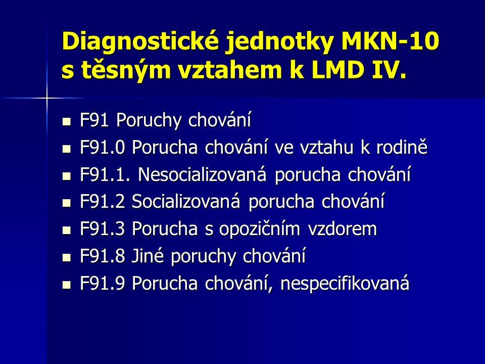 Diagnostické jednotky MKN-10 s těsným vztahem k LMD IV. F91 Poruchy chování F91 Poruchy chování F91.0 Porucha chování ve vztahu k rodině F91.0 Porucha