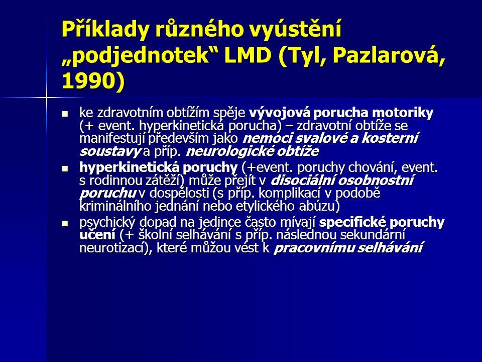 """Příklady různého vyústění """"podjednotek"""" LMD (Tyl, Pazlarová, 1990) ke zdravotním obtížím spěje vývojová porucha motoriky (+ event. hyperkinetická poru"""