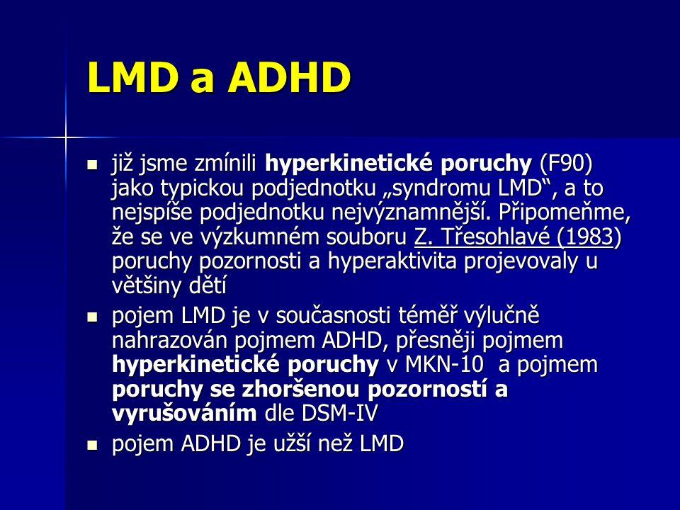 """LMD a ADHD již jsme zmínili hyperkinetické poruchy (F90) jako typickou podjednotku """"syndromu LMD"""", a to nejspíše podjednotku nejvýznamnější. Připomeňm"""