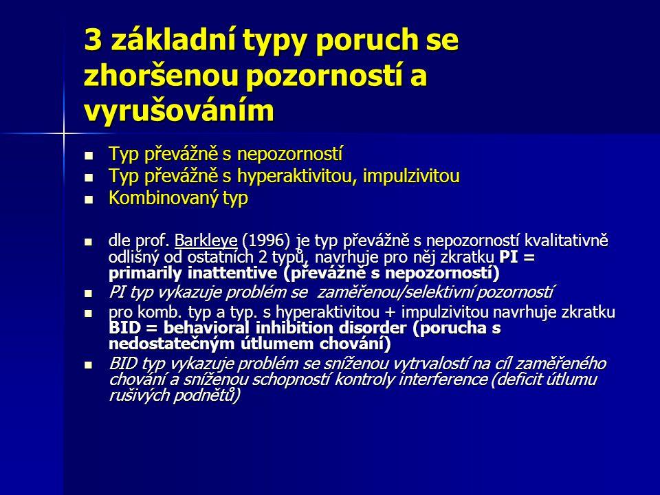 3 základní typy poruch se zhoršenou pozorností a vyrušováním Typ převážně s nepozorností Typ převážně s nepozorností Typ převážně s hyperaktivitou, im