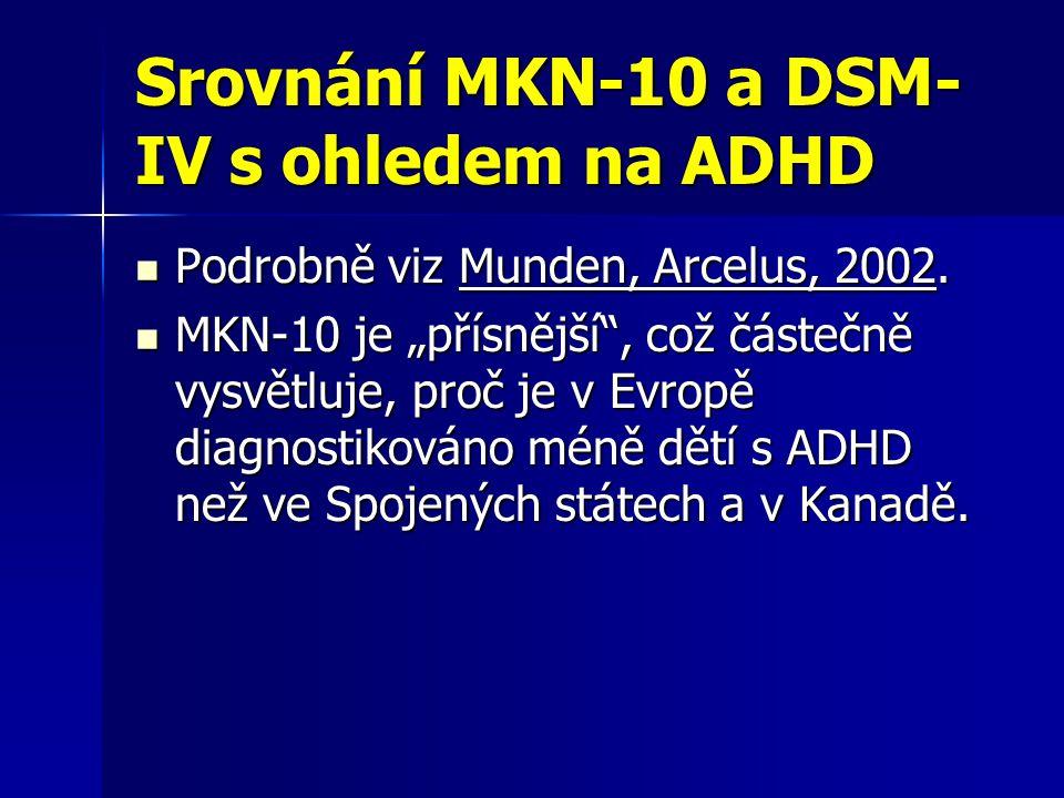 """Srovnání MKN-10 a DSM- IV s ohledem na ADHD Podrobně viz Munden, Arcelus, 2002. Podrobně viz Munden, Arcelus, 2002. MKN-10 je """"přísnější"""", což částečn"""