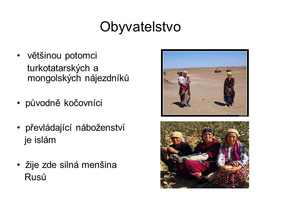 Obyvatelstvo většinou potomci turkotatarských a mongolských nájezdníků původně kočovníci převládající náboženství je islám žije zde silná menšina Rusů