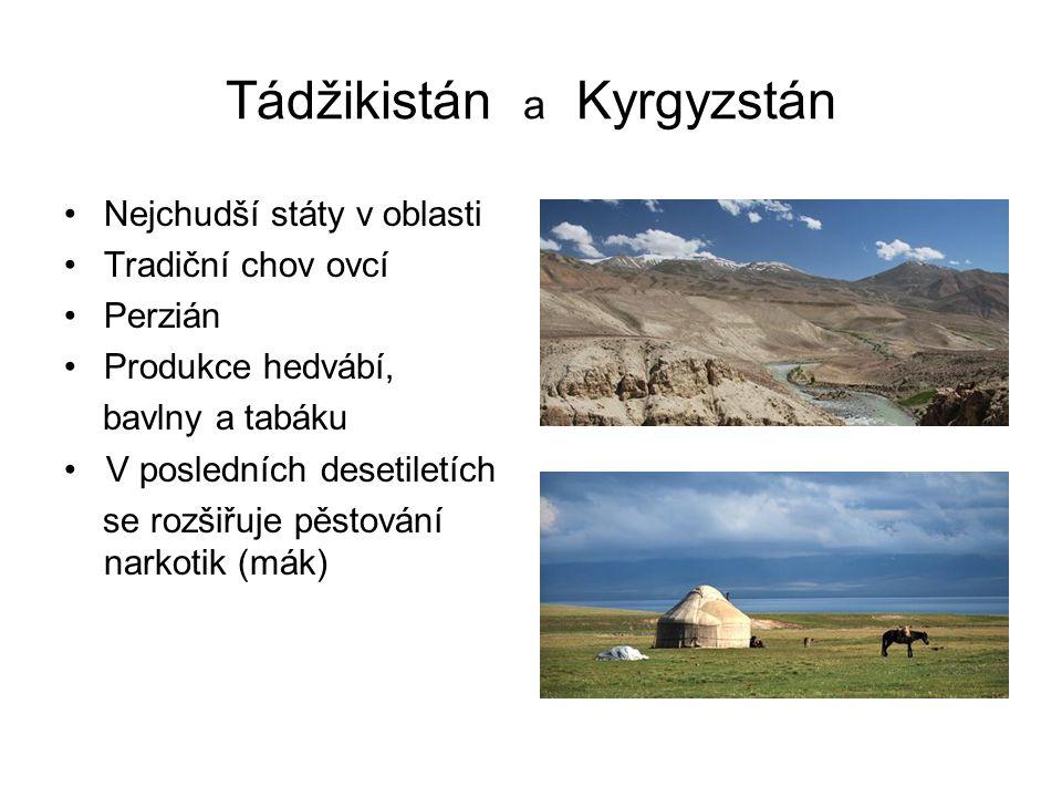 Tádžikistán a Kyrgyzstán Nejchudší státy v oblasti Tradiční chov ovcí Perzián Produkce hedvábí, bavlny a tabáku V posledních desetiletích se rozšiřuje